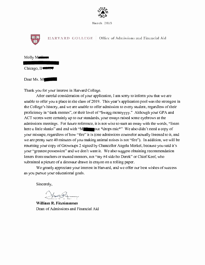 Letter Of Recommendation Meme Awesome This is What Happens when You Send Harvard Your Mixtape