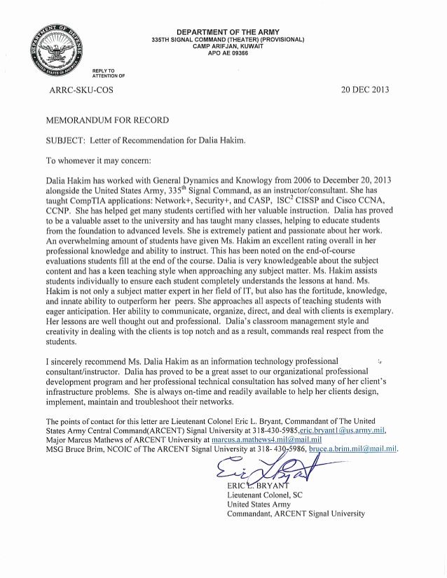 Letter Of Recommendation Military Beautiful Army Letter Of Re Mendation