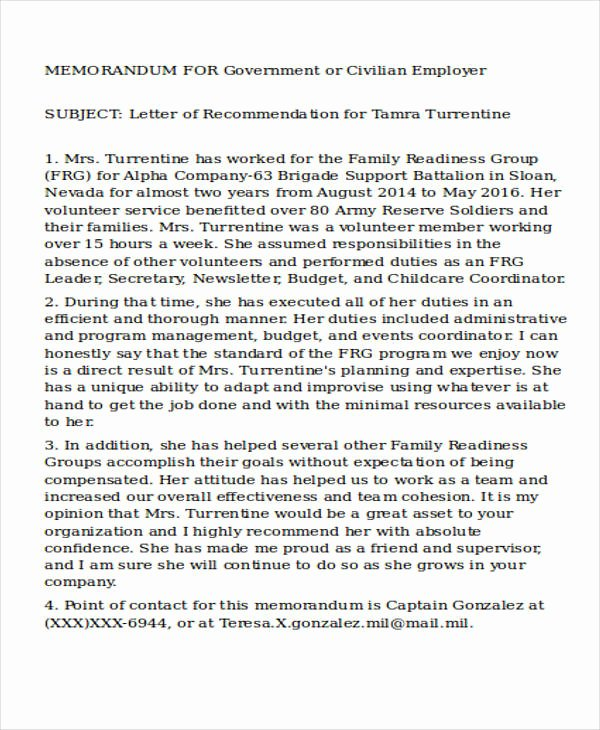Letter Of Recommendation Military Best Of 28 Re Mendation Letter Examples