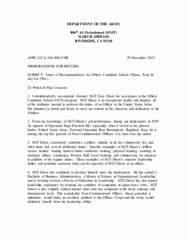 Letter Of Recommendation Military Elegant Maj solis Letter Of Re Mendation Ocs Dixon Dec 2015 2