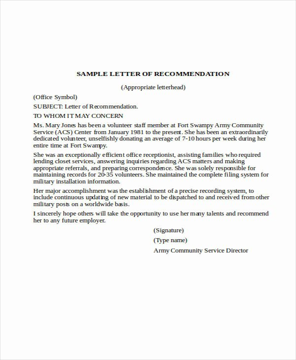 Letter Of Recommendation Military Inspirational 37 Re Mendation Letter format Samples