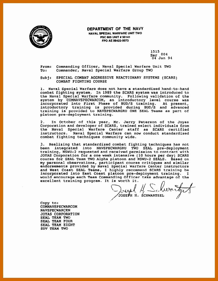 Letter Of Recommendation Military Lovely 8 9 Military Letter formats