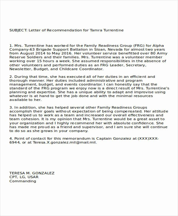Letter Of Recommendation Military New 37 Re Mendation Letter format Samples