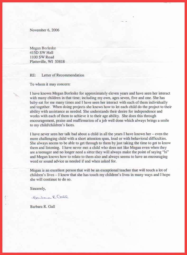 Letter Of Recommendation Nanny Beautiful Nanny Re Mendation Letter