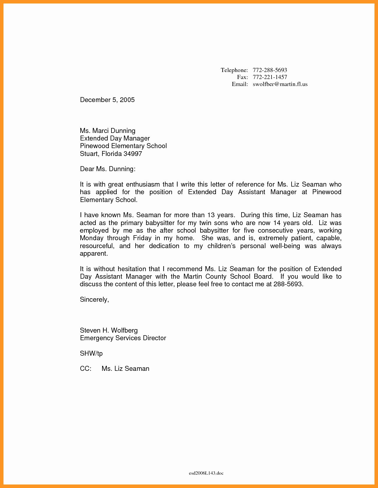 Letter Of Recommendation Nanny Best Of Babysitter Letter Of Re Mendation