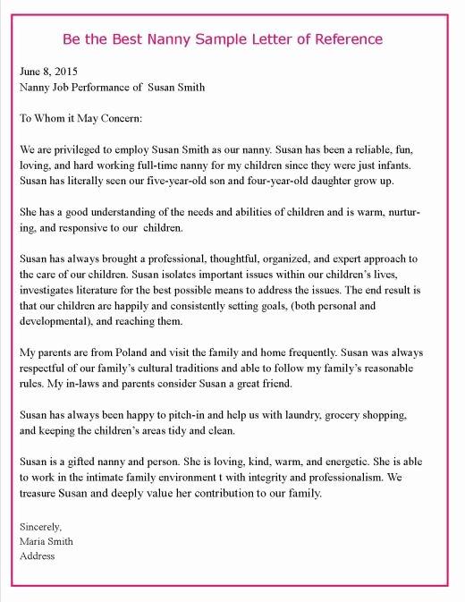 Letter Of Recommendation Nanny Elegant 4 Nanny Reference Letters