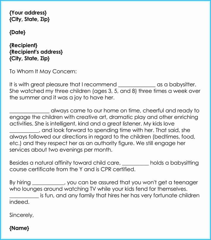 Letter Of Recommendation Nanny Elegant Babysitter Reference Letter Writing Guide & Free Sample