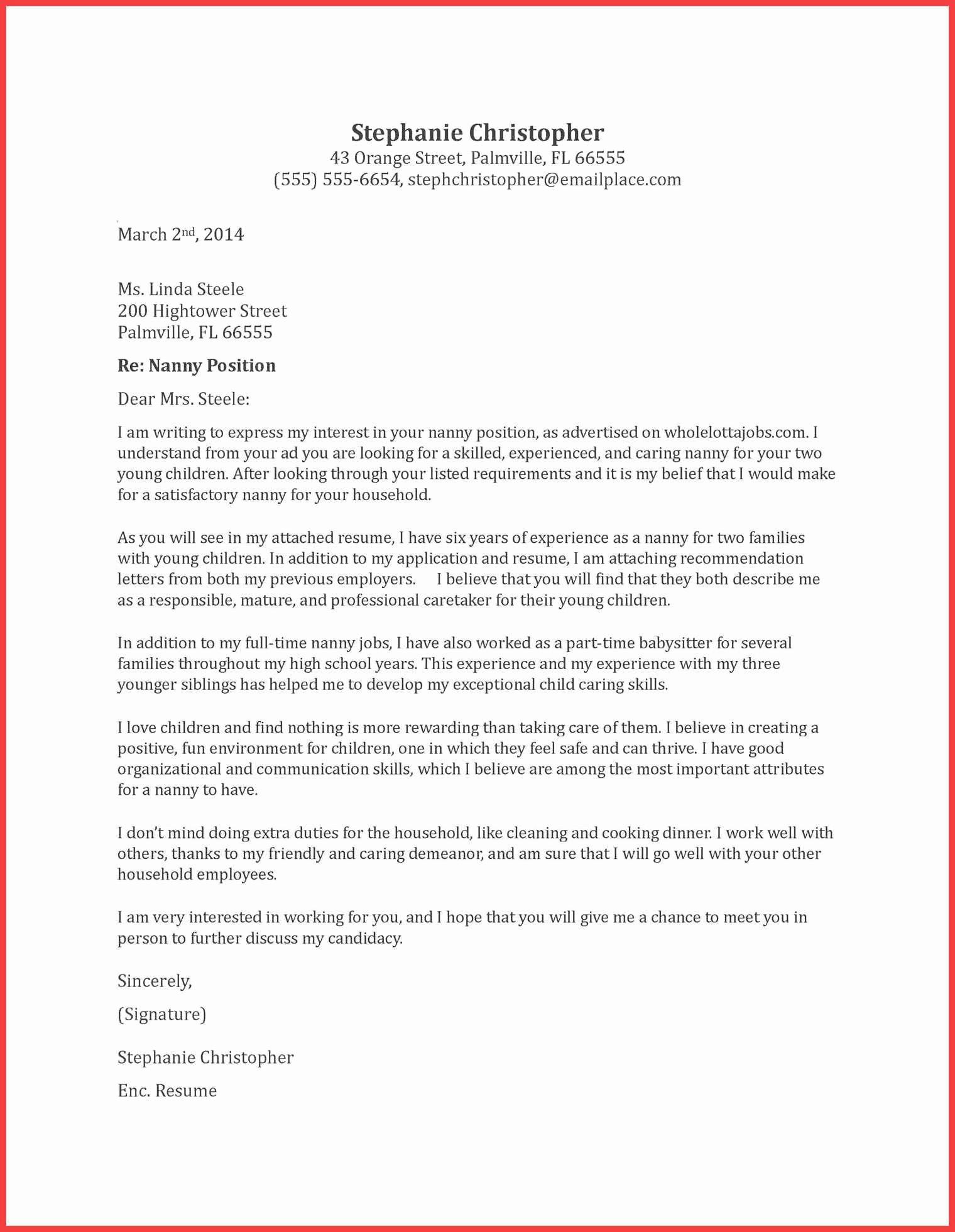 Letter Of Recommendation Nanny Elegant Nanny Re Mendation Letter
