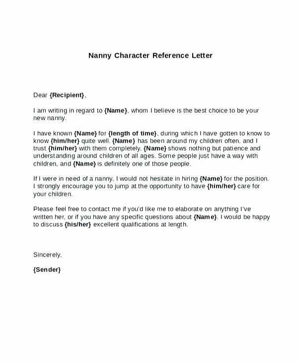 Letter Of Recommendation Nanny Fresh Nanny Re Letter Unique Letters Re Re Mendation