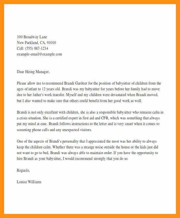 Letter Of Recommendation Nanny Lovely Letter Of Re Mendation Nanny