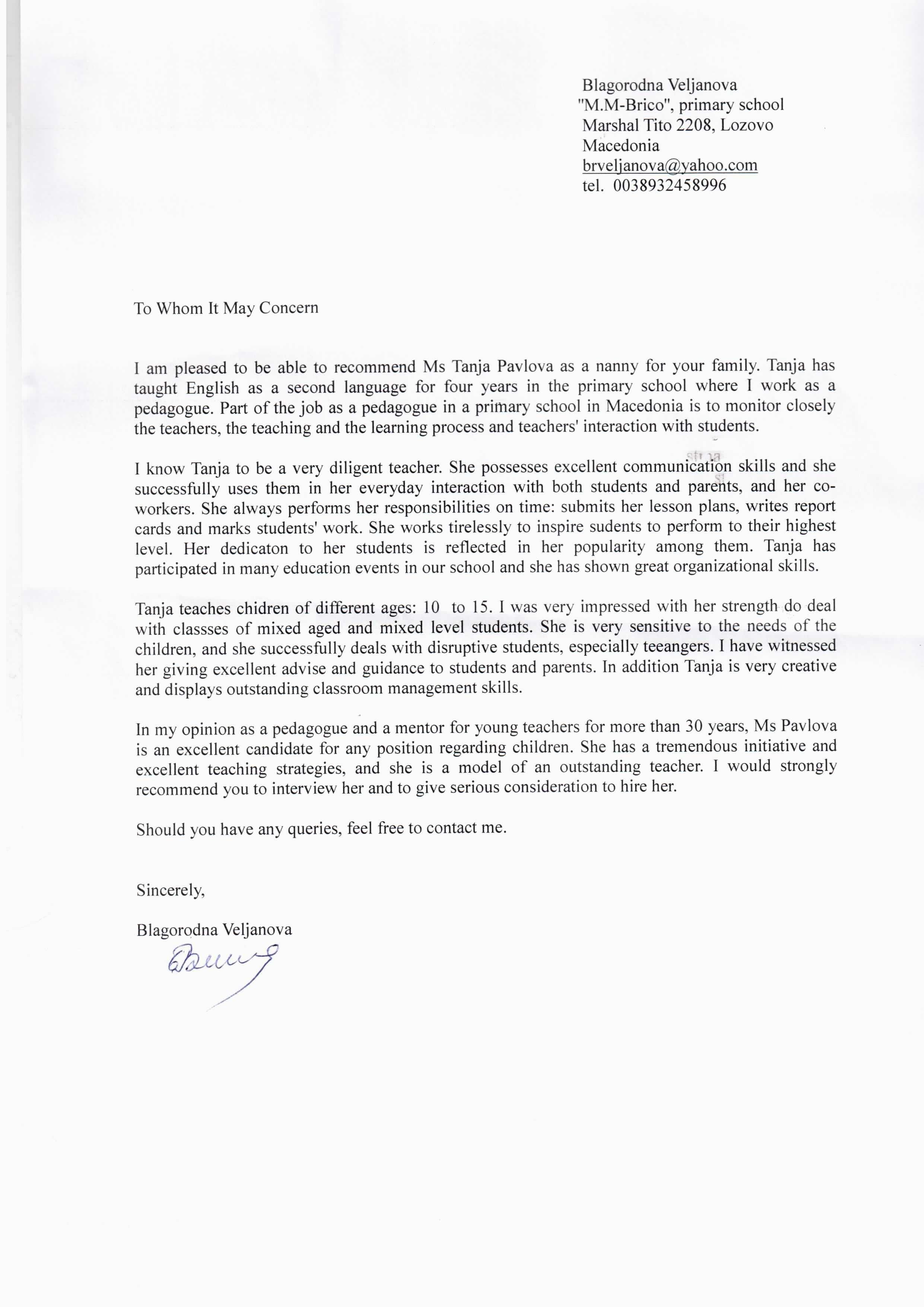 Letter Of Recommendation Nanny Lovely Reference Letter Template Au Pair New Reference Letter for