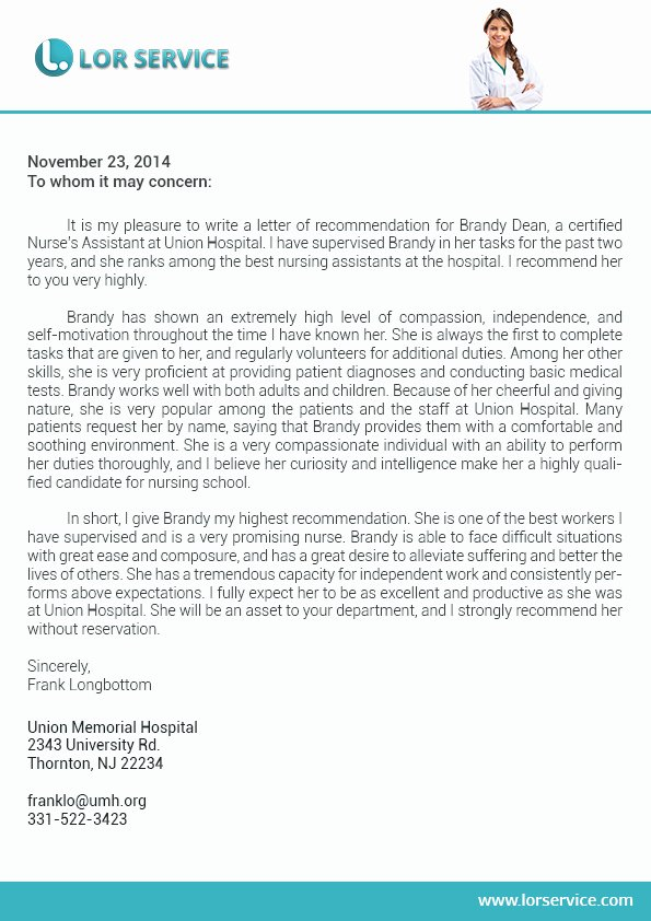 Letter Of Recommendation Nurse Elegant Letter Of Re Mendation for Nursing School Writing Service