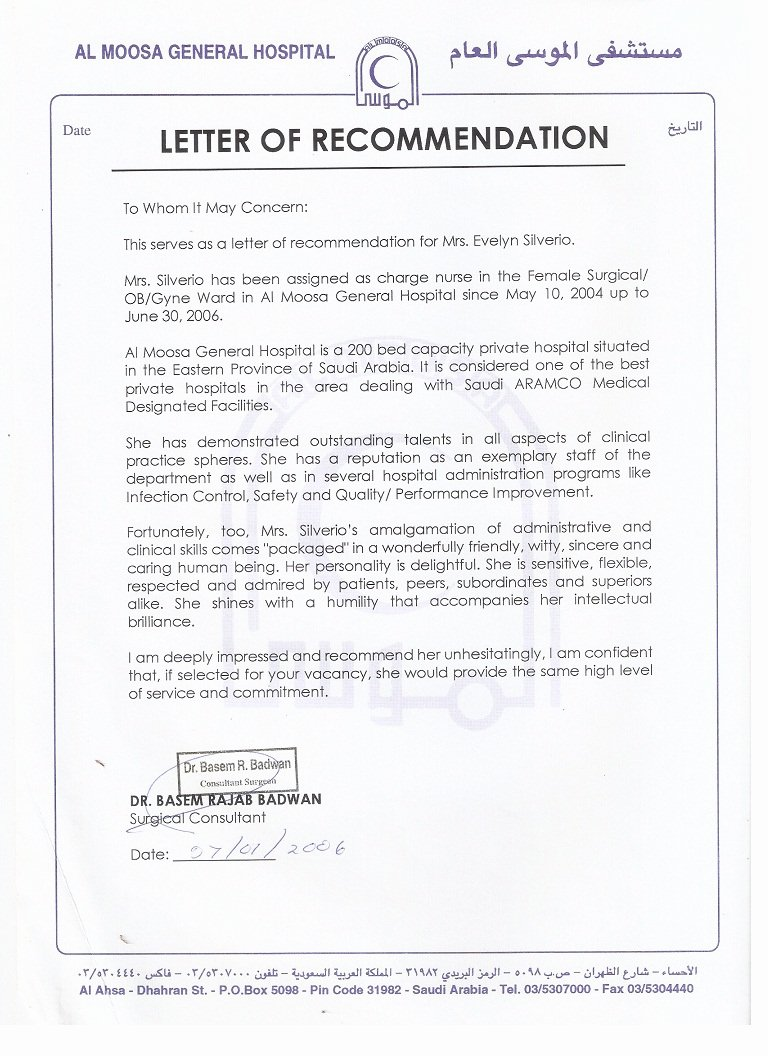 Letter Of Recommendation Nurse New 2 Al Moosa Gen Hospital Letter Of Re Mendation 1
