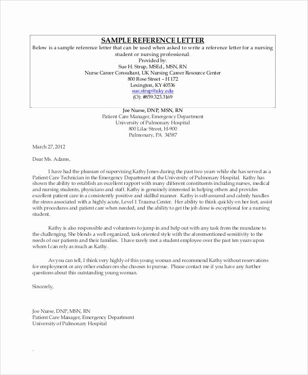 Letter Of Recommendation Nursing Best Of 10 Student Reference Letter Templates Free Samples