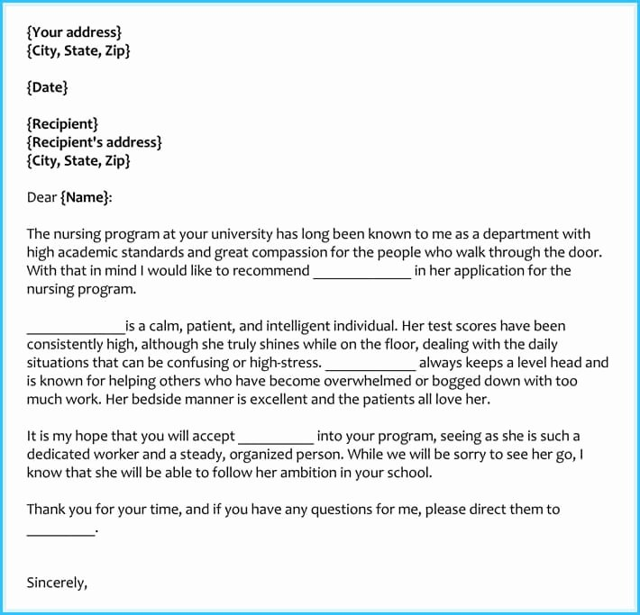 Letter Of Recommendation Nursing Inspirational Reference Letter Examples 20 Samples formats & Writing