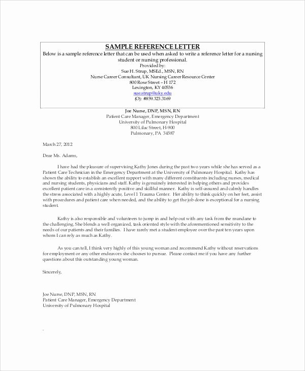 Letter Of Recommendation Nursing New Sample Nursing Re Mendation Letter 9 Examples In Word Pdf