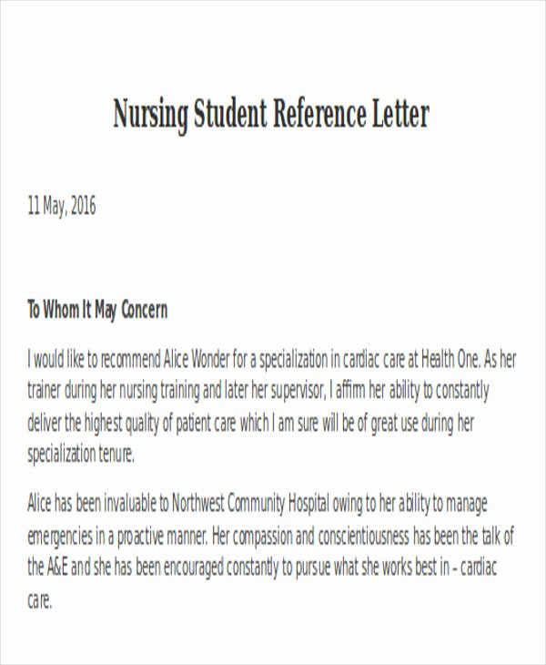 Letter Of Recommendation Nursing Student Beautiful Nursing Reference Letter Templates 12 Free Word Pdf
