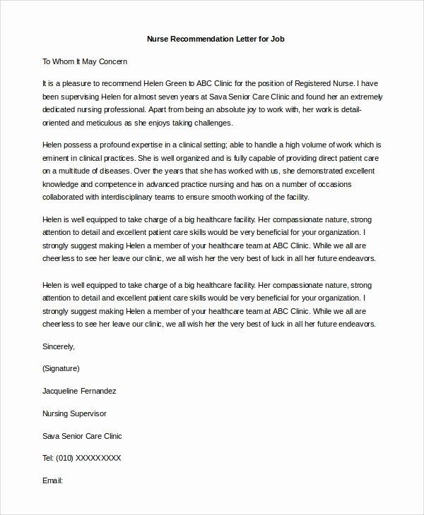 Letter Of Recommendation Nursing Student Elegant 9 Sample Letters Of Re Mendation for Job