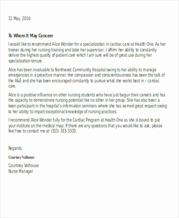 Letter Of Recommendation Nursing Student Lovely Reference Letter Template for Nursing Student How to
