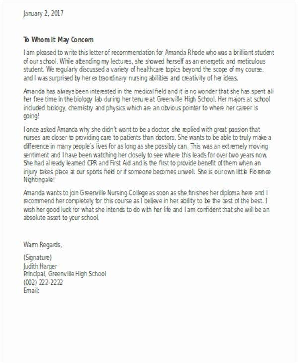 Letter Of Recommendation Nursing Student Unique 13 Sample Nursing Reference Letter Free Sample Example