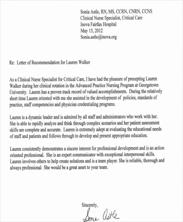 Letter Of Recommendation Nursing Student Unique Sample Generic Letter Of Re Mendation 7 Examples In