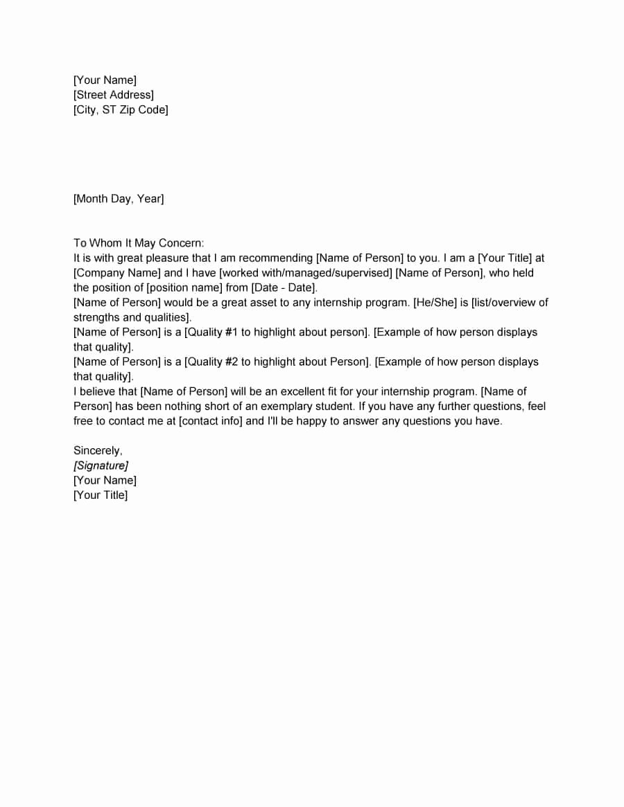 Letter Of Recommendation or Reference Fresh 43 Free Letter Of Re Mendation Templates & Samples