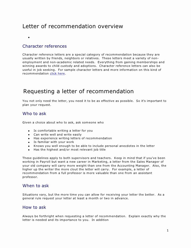 Letter Of Recommendation or Reference Luxury Letter Re Mendation Overview