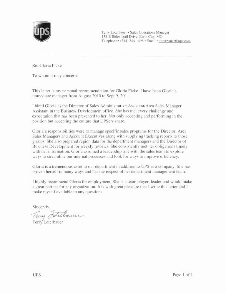 Letter Of Recommendation or Reference New Ups Letter Re Mendation