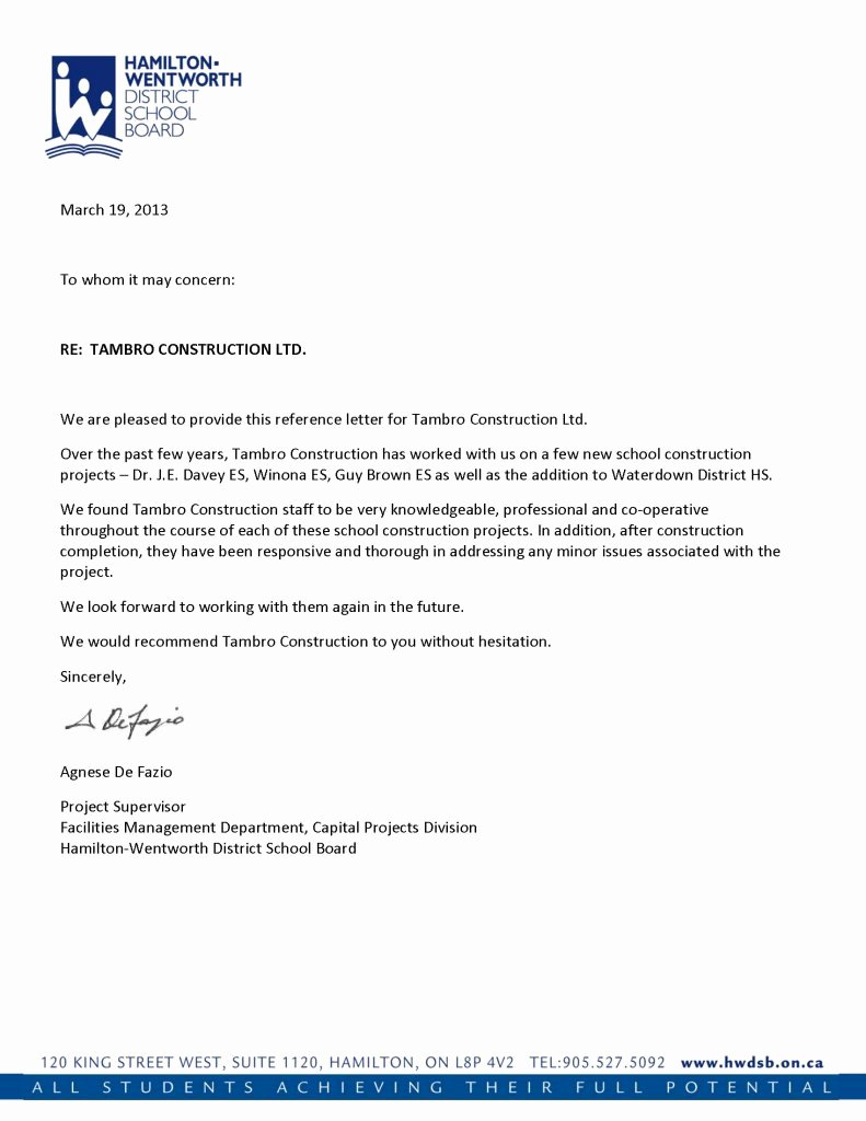 Letter Of Recommendation or Reference Unique Reference Letters
