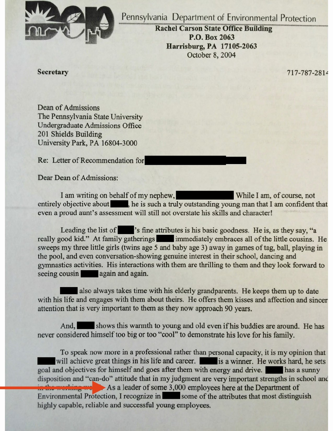 Letter Of Recommendation Pa School Awesome Pa Cabinet Official Mcginty Used State Letterhead while