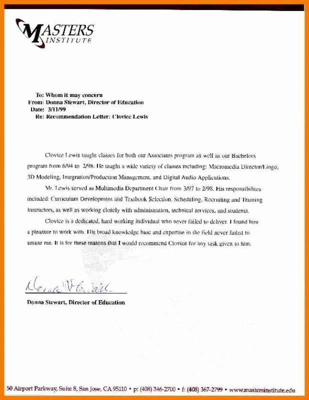 Letter Of Recommendation Pa School Fresh Sample Letter Re Mendation for Graduate School