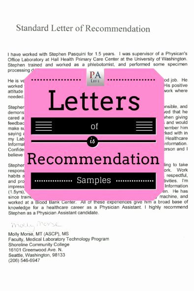 Letter Of Recommendation Pa School Lovely Physician assistant School Application Re Mendation