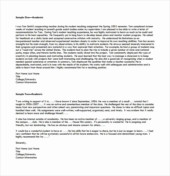 Letter Of Recommendation Pdf Awesome 18 College Re Mendation Letters Pdf Word