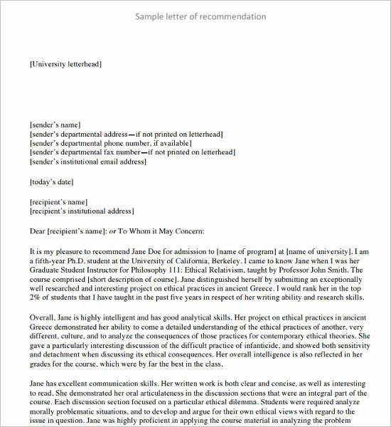 Letter Of Recommendation Pdf Luxury 55 Re Mendation Letter Template Free Word Pdf formats