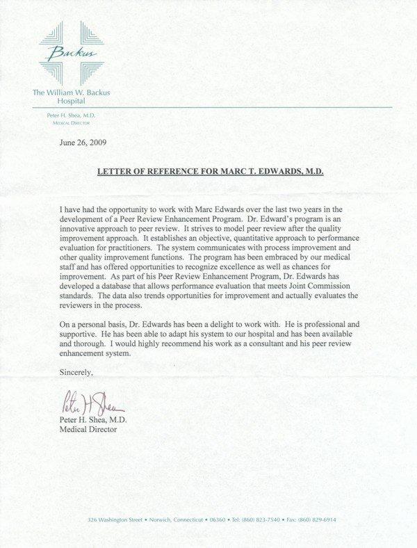 Letter Of Recommendation Peer Luxury Testimonial Letter Dr Shea