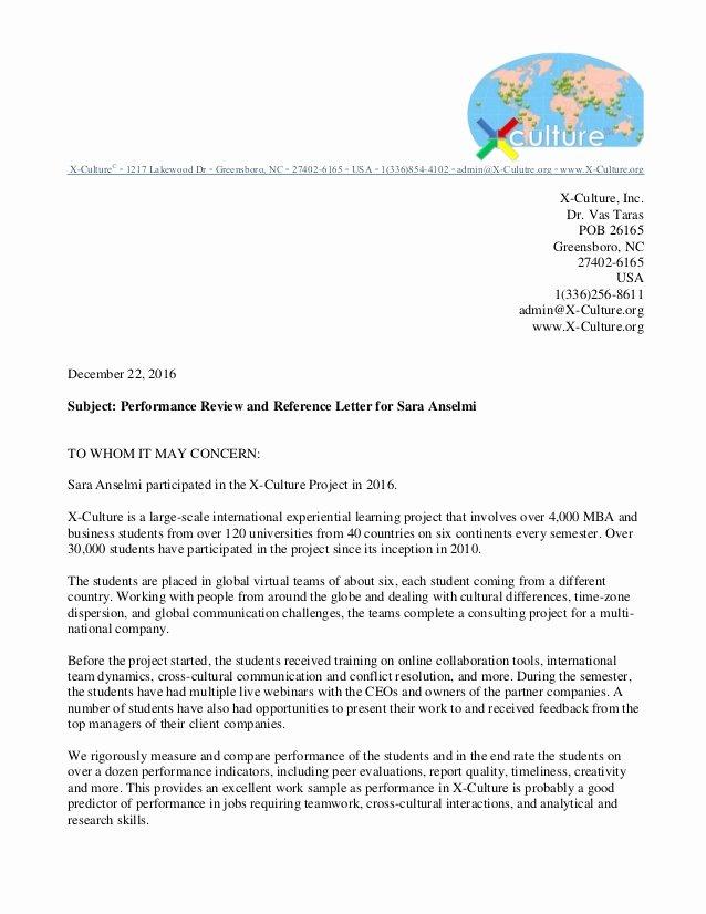 Letter Of Recommendation Peer New Re Mendation Letter for Sara Anselmi