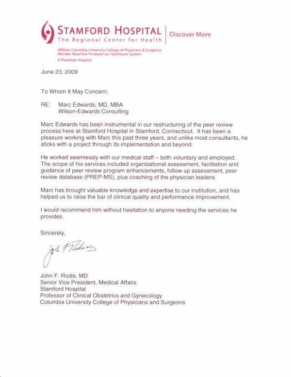 Letter Of Recommendation Peer Unique Testimonial Letter Dr Rodis