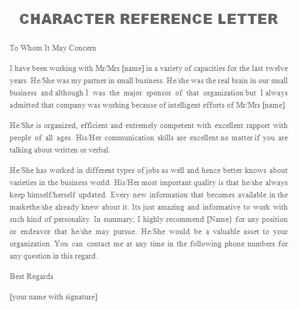 Letter Of Recommendation Phrases Fresh 41 Free Awesome Personal Character Reference Letter