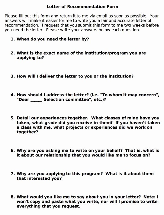 Letter Of Recommendation Questionnaire Beautiful 25 Best Ideas About Writing Letter Of Re Mendation On