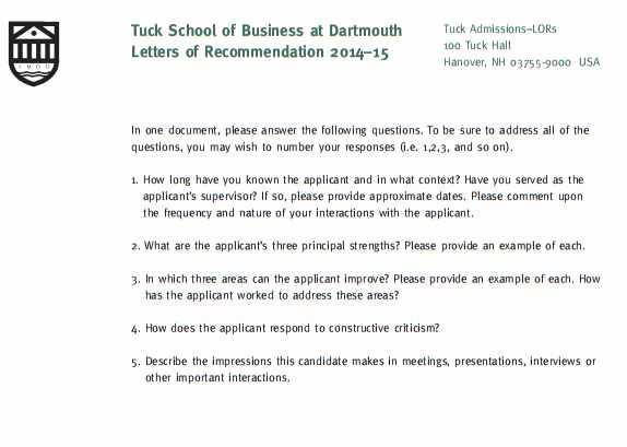 Letter Of Recommendation Questionnaire Best Of Tuck Mba Re Mendation Questions 2018 2019 Studychacha