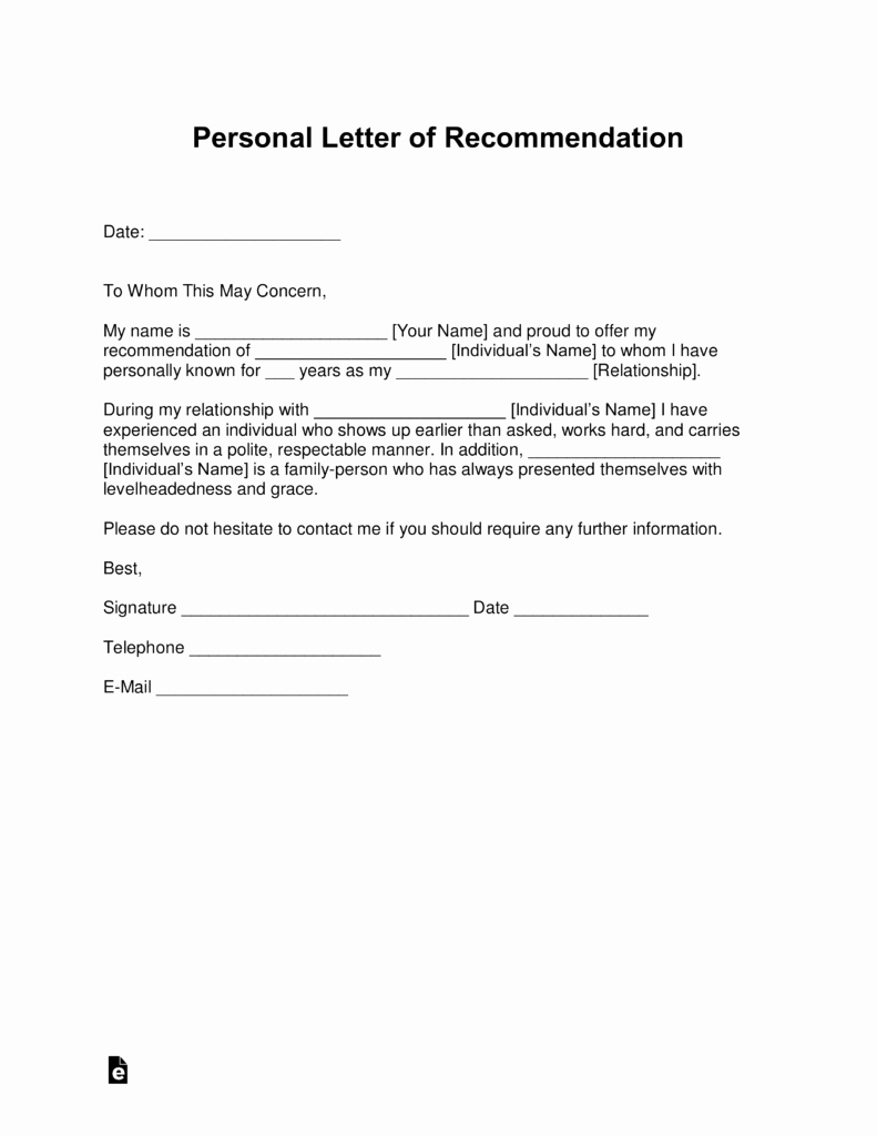 Letter Of Recommendation Questionnaire New Free Personal Letter Of Re Mendation Template for A