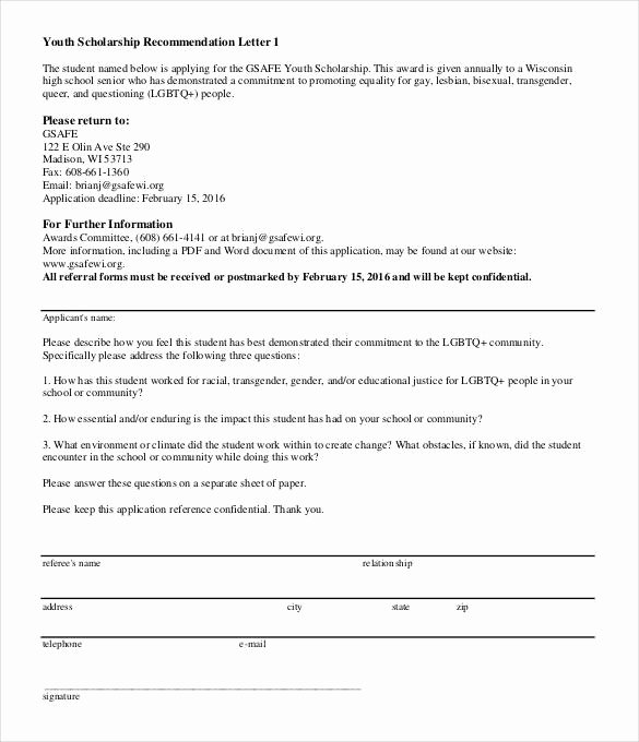 Letter Of Recommendation Questions Fresh 27 Letters Of Re Mendation for Scholarship Pdf Doc