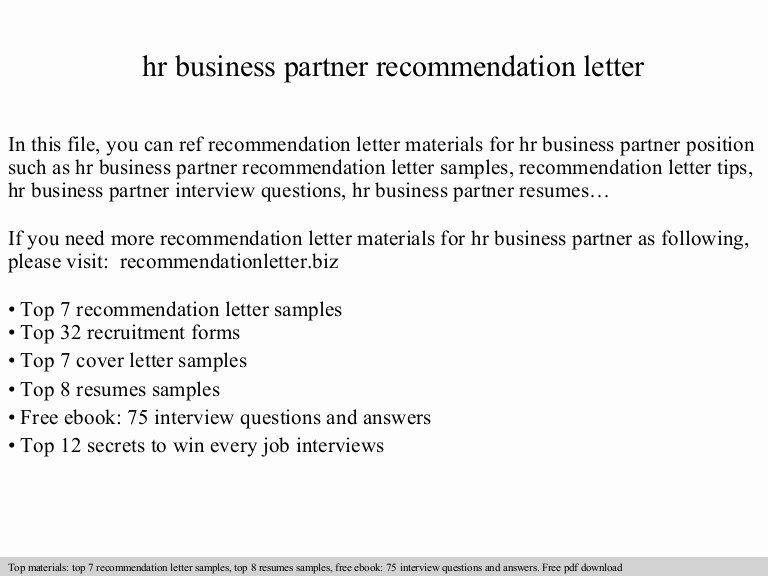 Letter Of Recommendation Questions Lovely Hr Business Partner Re Mendation Letter