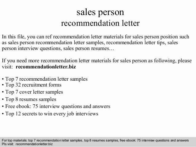 Letter Of Recommendation Questions New Sales Person Re Mendation Letter
