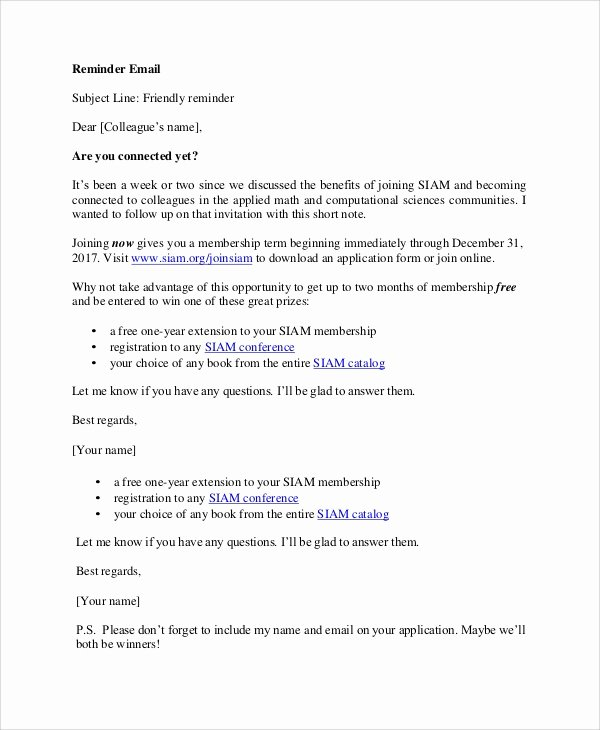 Letter Of Recommendation Reminder Email Luxury 7 Sample Reminder Emails Pdf