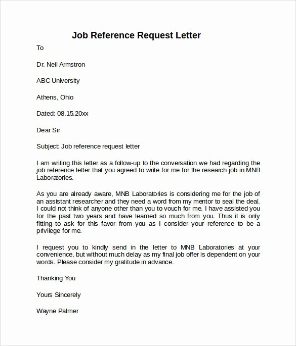 Letter Of Recommendation Request Example Awesome Job Reference Letter 7 Free Samples Examples & formats