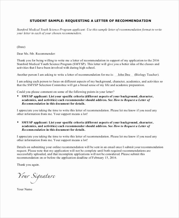 Letter Of Recommendation Request Example Best Of 25 Sample Personal Letters Of Re Mendation Pdf Doc