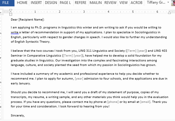 Letter Of Recommendation Request Example Inspirational Letter Requesting Graduate School Re Mendation Sample