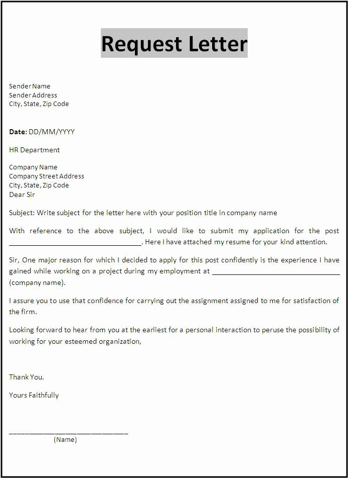 Letter Of Recommendation Request Example Inspirational Request Letter Template