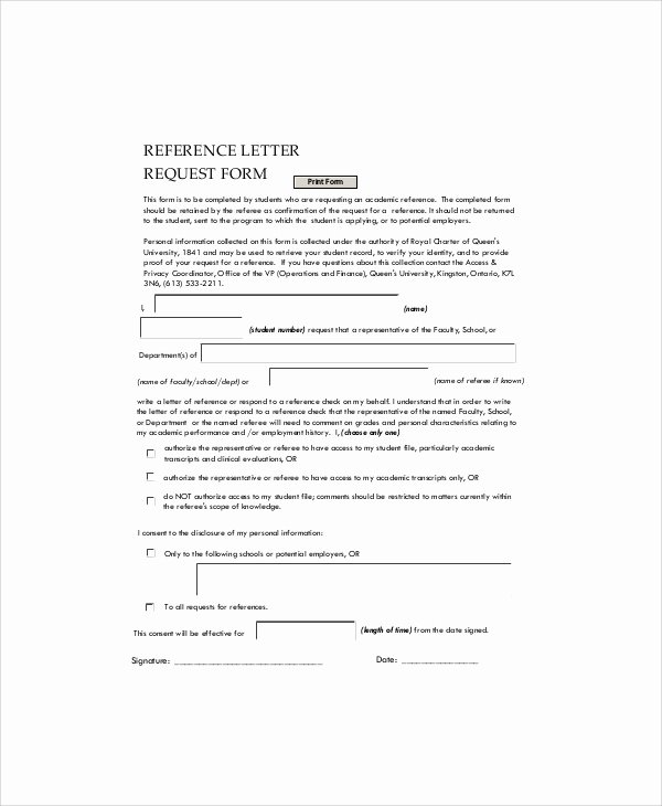 Letter Of Recommendation Request form Awesome 7 Sample Employment Reference Letters